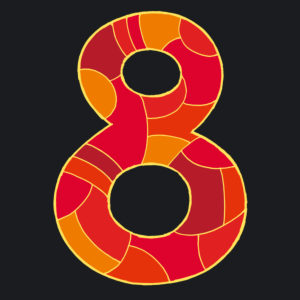 Numeral eight, drawn as a vector illustration, in red hues on a dark background in pop art style