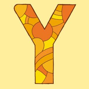 Buchstabe Y, gezeichnet als Vektorillustration, in orangenen Farbtönen auf blassgelbem Hintergrund in Pop-Art-Stilistik