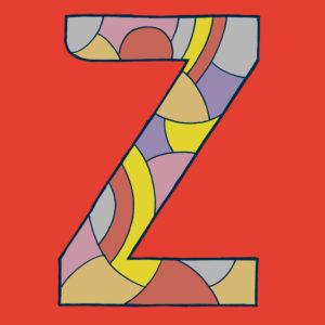 Buchstabe Z, gezeichnet als Vektorillustration, in blauenverschiedenen Farbtönen auf rotem Hintergrund in Pop-Art-Stilistik