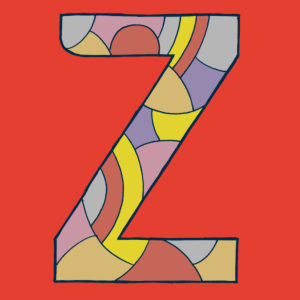 Letter Z, drawn as a vector illustration, in blue different shades on red background in pop art style