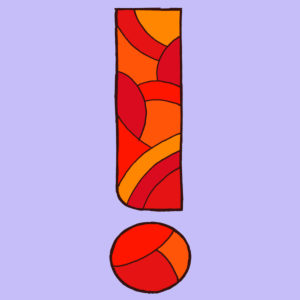Exclamation mark, drawn as a vector illustration, in red tones in pop art style