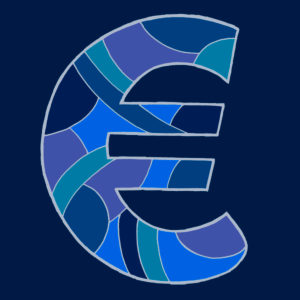 Euro sign, drawn as a vector illustration, in blue tones on a dark blue background in pop art style