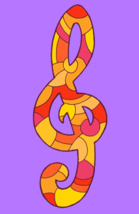 Treble clef, drawn as vector illustration, in red and yellow tones in pop art style
