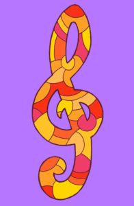 Violinschlüssel, gezeichnet als Vektorillustration, in rot-gelben Farbtönen in Pop-Art-Stilistik