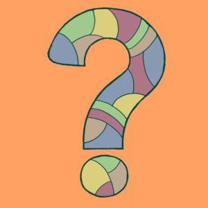Fragezeichen, gezeichnet als Vektorillustration, in Pastell-Farbtönen in Pop-Art-Stilistik