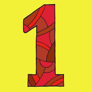 Ziffer Eins, gezeichnet als Vektorillustration, in roten Farbtönen auf gelbem Hintergrund in Pop-Art-Stilistik