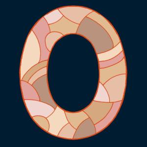 Ziffer Null, gezeichnet als Vektorillustration, in Hautfarbtönen auf schwarzblauem Hintergrund in Pop-Art-Stilistik