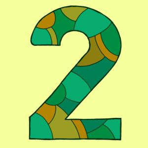 Ziffer Zwei, gezeichnet als Vektorillustration, in grüngelben Farbtönen auf hell-grünlichem Hintergrund in Pop-Art-Stilistik