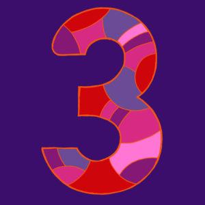 Ziffer Drei, gezeichnet als Vektorillustration, in violett-roten Farbtönen auf dunkel-violettem Hintergrund in Pop-Art-Stilistik