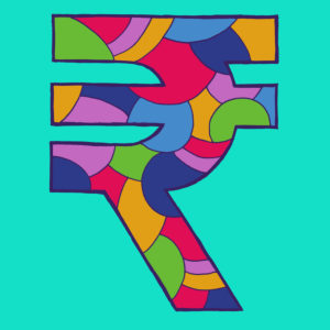 Rupee sign, drawn as a vector illustration, in colorful shades on turquoise background in pop art style
