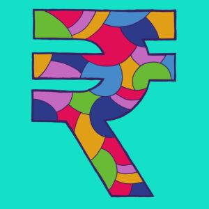 Rupien-Zeichen, gezeichnet als Vektorillustration, in bunten Farbtönen auf türkisfarbenem Hintergrund in Pop-Art-Stilistik