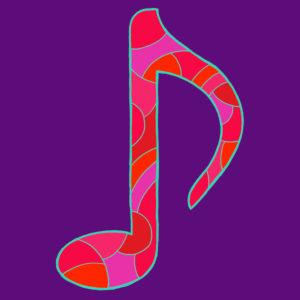 Notenzeichen, gezeichnet als Vektorillustration, in rot-violetten Farbtönen in Pop-Art-Stilistik