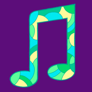 Musical note, drawn as a vector illustration, in turquoise-green shades in pop art style