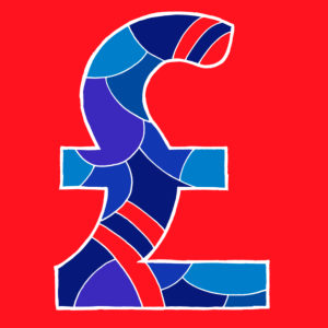 British pound sign, drawn as a vector illustration, in blue-red hues on a red background in pop art style