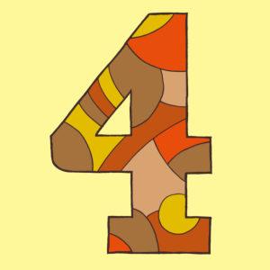 Ziffer Vier, gezeichnet als Vektorillustration, in bräunlicen Farbtönen auf hellgelbem Hintergrund in Pop-Art-Stilistik