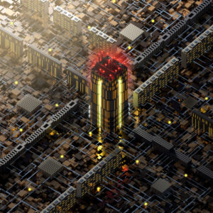 Complex city structure from above in isometric perspective at sunset