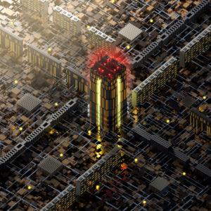 Komplexe Stadtstruktur von oben in isometrischer Perspektive bei Sonnenuntergang