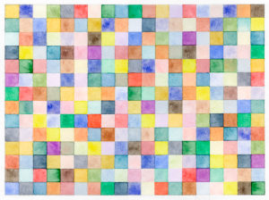 Watercolor, colorful squares of color in a 19 x 14 grid with a white border