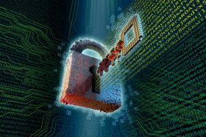 Stilisertes Schloss mit Schlüssel zum Thema Kryptographie und Verschlüsselung vor dunklem Hintergrund mit Zufallscode