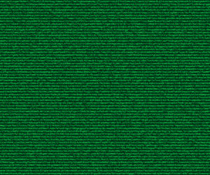 Cryptocode, Randomly generated letter and number code in green letters on a dark green background stylized like a computer screen