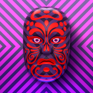 Asian theater mask with red ornaments against purple-pink striped background