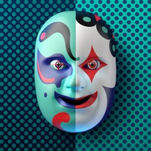 Asiatische Theatermaske mit farbigen Ornamenten vor blau-türkis gepunktetem Hintergrund