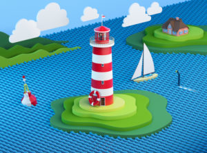 Stylized seascape with lighthouse, hallig, buoy, sailing ship, clouds and hills