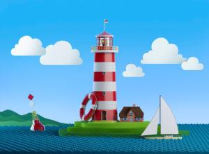 Stilisierte See-Illustration mit Leuchtturm, Rettungsring, Boje, Segelschiff, Wolken und Hügeln