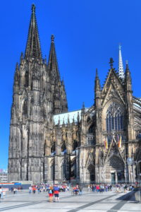 Cathedral square with cathedral in the old town, Cologne, North Rhine-Westphalia, West Germany, Germany