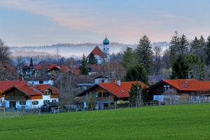 View of Eschenlohe in early spring with morning fog, Loisachtal, Upper Bavaria, Bavaria, Germany