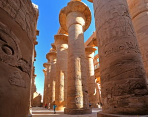 Column hall in Karnak temple, Karnak near Luxor, Upper Egypt, Egypt