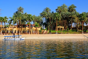 Waterfront and palm garden on the banks of the Nile from Mercure Hotel, Karnak near Luxor, Upper Egypt, Egypt