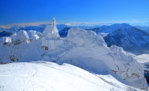 Mountain house on the Mount Wendelstein with view in winter, Leitzach valley, Bayrischzell, Mangfall Mountains, Upper Bavaria, Bavaria, Germany