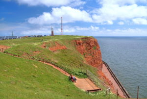 Observation terrace on the northwestern cliff with lighthouse and transmission tower on the Oberland, Heligoland, Helgoland Bay, German Bay, North Sea island, North Sea, Schleswig-Holstein, Germany
