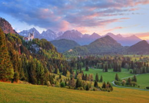 Spring landscape with Neuschwanstein and Hohenschwangau castles against the Tannheim Mountains, Hohenschwangau, Romantic Road, Ostallgäu, Allgäu, Swabia, Bavaria, Germany