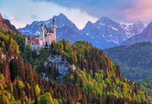 Spring landscape with Neuschwanstein Castle against Tannheim Mountains, Hohenschwangau, Romantic Road, Ostallgäu, Allgäu, Swabia, Bavaria, Germany