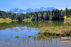 Geroldsee (Wagenbrüchsee) at the hamlet of Gerold in spring against Karwendel mountains, Krün, Werdenfelser Land, Upper Bavaria, Bavaria, Germany