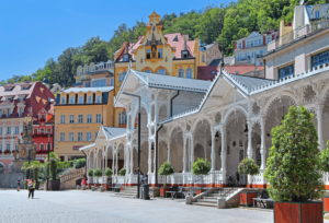 Market colonnade in the spa area, Karlovy Vary, spa triangle, Bohemia, Czech Republic