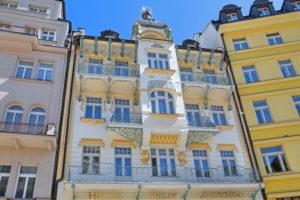 Art Nouveau facade on Lazenskastrasse in the spa area, Karlsbad, spa triangle, Bohemia, Czech Republic