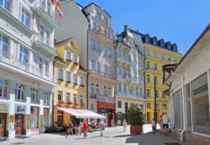 Lazenskastrasse in the spa area with Art Nouveau houses, Karlsbad, spa triangle, Bohemia, Czech Republic