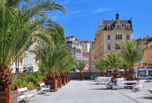 Palm terrace at the Mühlbrunnkolonade, Karlsbad, spa triangle, Bohemia, Czech Republic
