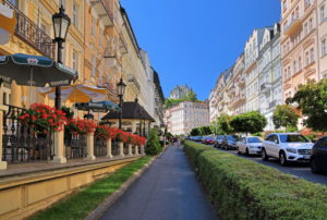Sadovastrasse with Art Nouveau houses in the spa area, Karlsbad, spa triangle, Bohemia, Czech Republic