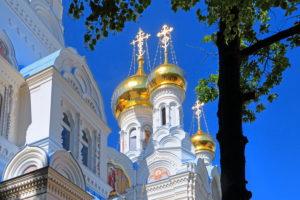 Onion domes of the Russian Church, Karlsbad, Spa Triangle, Bohemia, Czech Republic