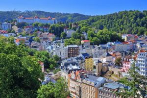 Panorama of the spa area in the Teplatal, Karlovy Vary, spa triangle, Bohemia, Czech Republic