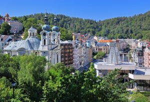 Panorama of the spa area with parish church and hot spring colonnade, Karlsbad, spa triangle, Bohemia, Czech Republic