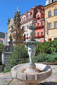 Fountain in the spa area, Karlovy Vary, spa triangle, Bohemia, Czech Republic