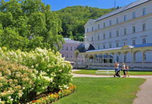 Park with park colonnade, Karlsbad, spa triangle, Bohemia, Czech Republic
