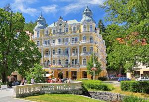 Typical Art Nouveau hotel, Marienbad, spa triangle, Bohemia, Czech Republic