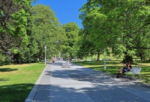 Spa park with promenade, Marienbad, spa triangle, Bohemia, Czech Republic