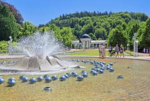 Singing fountain in the spa facilities, Marienbad, spa triangle, Bohemia, Czech Republic